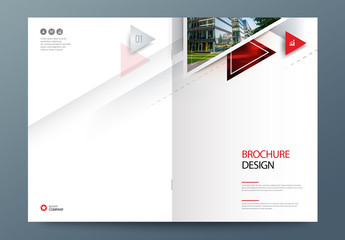 Business Report Cover Layout with Triangles