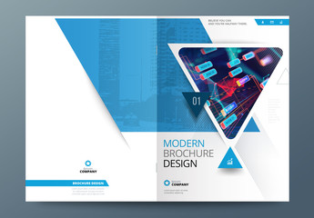 Blue Business Report Cover Layout with Triangles