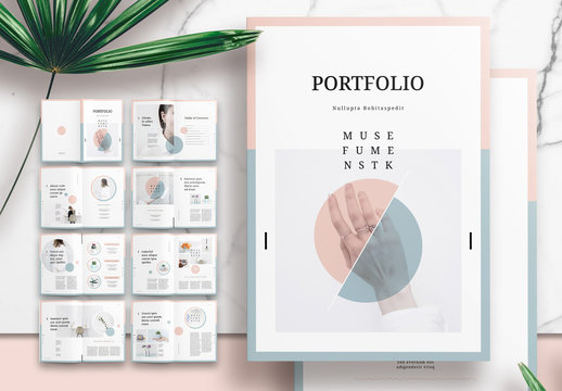Portfolio or Lookbook Layout with Pink and Green Accents
