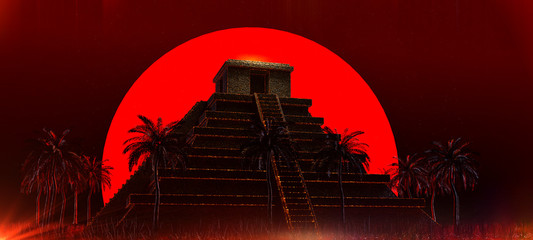 Mexican Mayan Aztec Pyramid in front of big red blood super moon. halloween vampire magic ethnic party background 3d rendered illustration