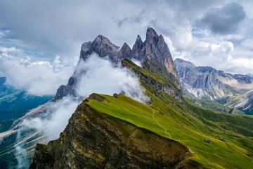 Wonderful landscape of  the Dolomites Alps. Odle mountain range, Seceda peak in Dolomites, Italy. Artistic picture. Beauty world. Fototapete