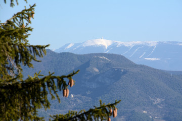 "View of the snowy mountain named ""Mont Ventoux'. France, Provence, Vaucluse."