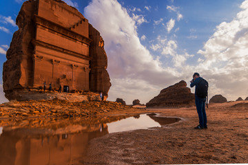 tourist in alula historical  pleas in saudi arabia