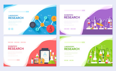 Science information brochure card set. laboratory chemistry template of flyear, web banner, ui header, enter site. Layout invintation modern slider