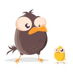 funny cartoon bird and little baby bird