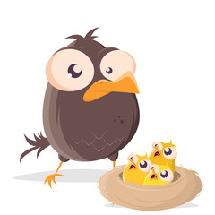 funny cartoon bird with hungry babys in a nest