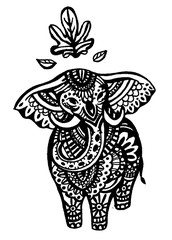 Hand Drawn Elephant Sketch Symbol. Vector Trunked Animal Element In Trendy Style