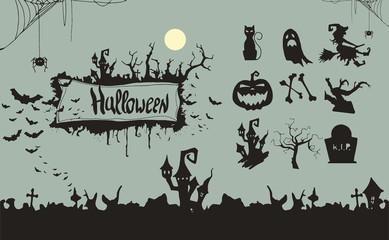 Happy Halloween witch Pumpkin Background Vector Illustration. Halloween Flat Design.