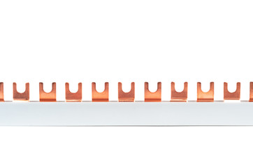 Circuit breaker busbar made of copper, isolated on a white background