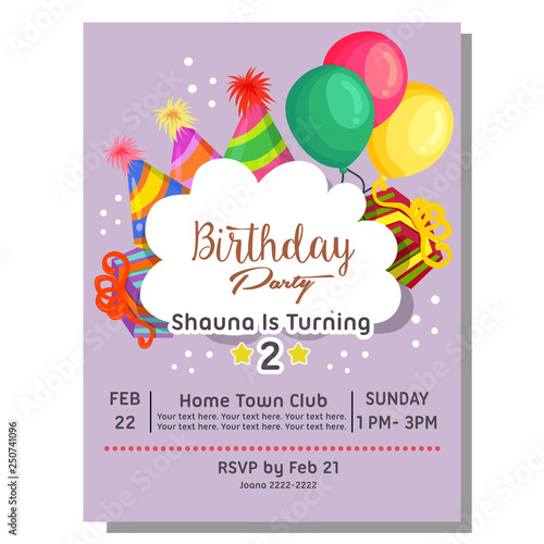Colorful 2nd Birthday Party Invitation Card With Hat Balloon Present