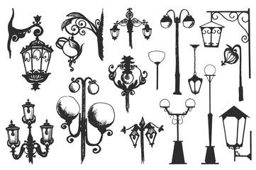 Hand drawn doodle city street lantern set. Ink vector illustration
