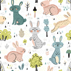 Rabbits in the woods cute seamless pattern in Scandinavian style. Great for kids apparel, textile, fabric, wrapping paper, nursery decoration. Vector illustration