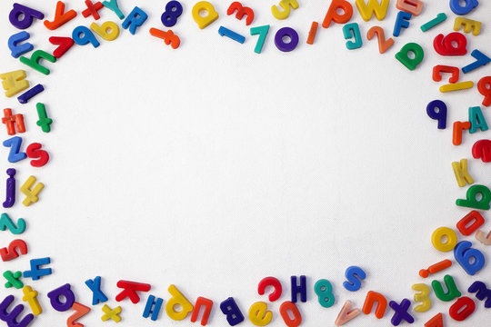 Colorful Alphabetical Letters and Numbers on a White Background