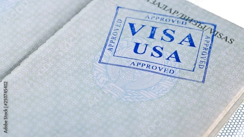 put a stamp in the passport: USA visa, approved