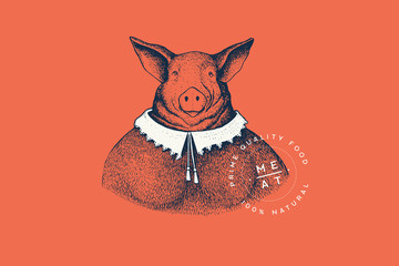 Vector image of woman-pig in a dress with a white collar in the technique of engraving on a red background. Template for logo, emblem in retro style for butcher market. Premium quality meat products.