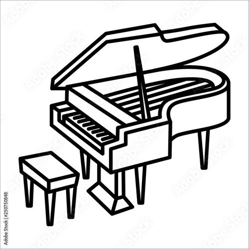 Piano music instrument icon and vector illustration