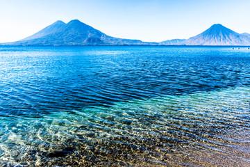 Atitlan, Toliman & San Pedro volcanoes, Lake Atitlan, Guatemala