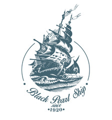 Hand drawn vector logo of vintage sailing ship in the sea