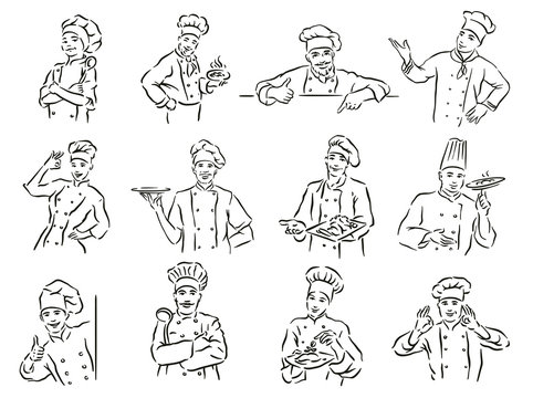 Monochrome vector  illustration of whiskered chef isolated on white background