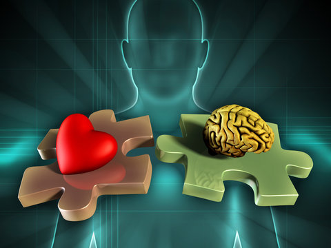 Human figure on background, with an heart and a brain on two matching puzzle pieces. Digital illustr