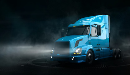 Modern blue semi truck on dark background with smoke (3D illustration)