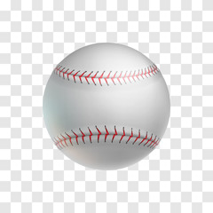 Foto op Plexiglas Bol Realistic leather baseball ball isolated on transparent background. Sports equipment for american team game on grass field vector illustration. Sport competition and outdoors activity 3d object.