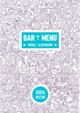 Vector hand drawn illustration of alcohol bar menu doodle illustration on white background.