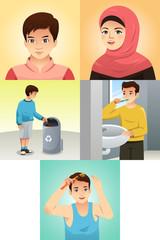 Muslim Kids Doing Activities Illustration
