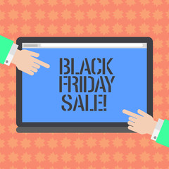 Writing note showing Black Friday Sale. Business photo showcasing day full of special shopping deals and heavy discounts Hu analysis Hands Pointing on a Blank Color Tablet Screen
