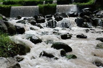 Deurstickers Bos rivier natural waterfall from springs
