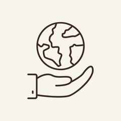 Globe in hand line icon