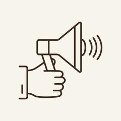 Hand holding megaphone line icon