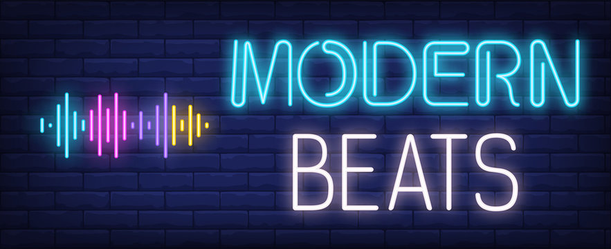 Modern beats neon text with sound waves