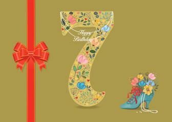 Happy Birthday. Floral Number 7 with pearl collar