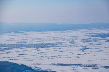 Winter landscape and townscape of Asahikawa Kamikicho, Hokkaido