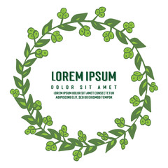 Vector illustration green leaves flower frame with lorem ipsum hand drawn