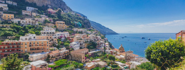 Houses and coastline from the town of Positano, along the Amalfi Coast, Italy Wall mural