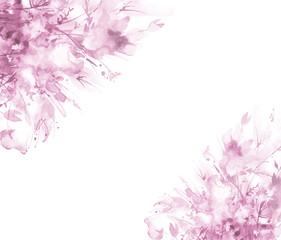 Watercolor bouquet of flowers, Beautiful abstract splash of paint, fashion illustration.Orchid flowers, poppy, cornflower, pink sakura branch, peony, rose, field or garden flowers.Watercolor abstract.