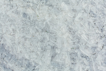 Amazing abstract broken ice crystals texture. Clear melting ice background.