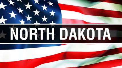 North Dakota state on a USA flag , 3D . States of America flag waving in the wind. Proud American Flag Waving, US North Dakota state concept. US symbol and American North Dakota background
