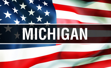 Michigan state on a USA flag background, 3D . United States of America flag waving in the wind. Proud American Flag Waving, US Michigan state concept. US symbol and American Michigan background