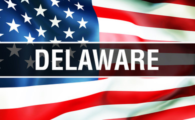 Delaware state on a USA flag background, 3D . United States of America flag waving in the wind. Proud American Flag Waving, US Delaware state concept. US symbol and American Delaware background