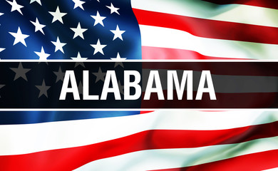 Alabama state on a USA flag background, 3D rendering. United States of America flag waving in the wind. Proud American Flag Waving, US Alabama state concept. US symbol and American Alabama background