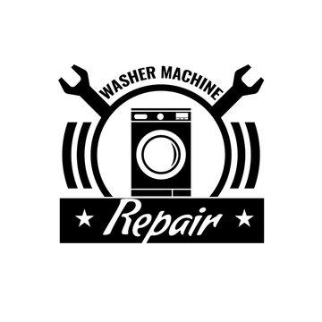 Washing machine repair icon or logo concept. Washing machine repair symbol. Vector illustration.
