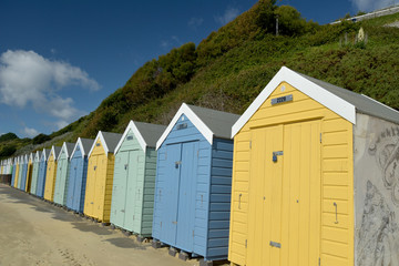 Beach huts on seafront at Bournemouth, Dorset