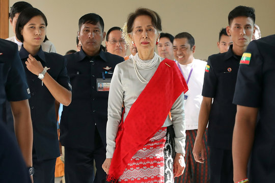 Myanmar's State Counsellor Aung San Suu Kyi arrives at the Rakhine State Investment Fair at Ngapali beach in Thandwe