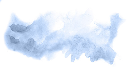 Abstract watercolor background hand-drawn on paper. Volumetric smoke elements. Navy blue color. For design, web, card, text, decoration, surfaces.