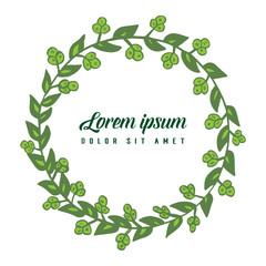 Vector illustration leaf flower frame white backdrop with lorem ipsum hand drawn