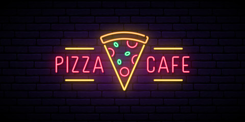 Pizza cafe neon sign. Bright advertising signboard for cafe, bar, restaurant. Pizza emblem. Vector illustration in neon style.