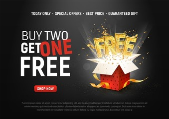 Buy 2 get 1 free vector illustration. Ad Special offer super sale red gift box on dark background Papier Peint